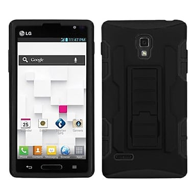 Insten Car Armor Stand Protector Cover For LG P769 Optimus L9, Black/Black (1039975)