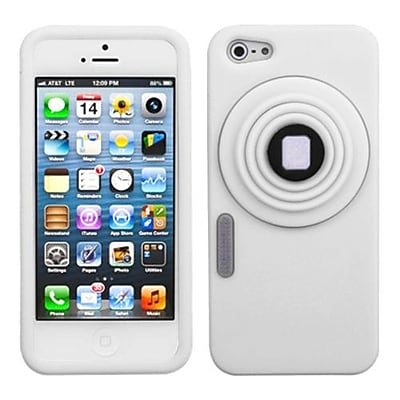 Insten® Pastel Skin Cover With White Lens F/iPhone 5/5S, White