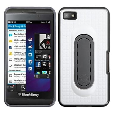 Insten Stand Protector Cover For BlackBerry Z10, White Snap Tail (1058500)