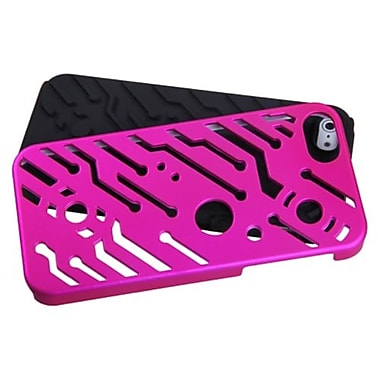 Insten® Circuitboard Hybrid Phone Protector Cover F/iPhone 5/5S, Titanium Solid Hot-Pink/Black