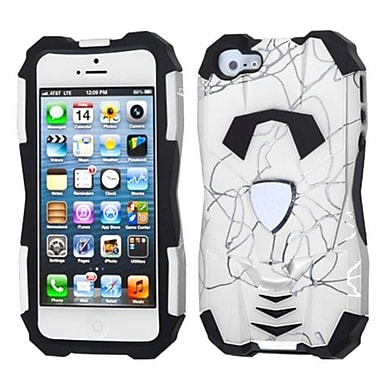Insten® Car Pattern Hybrid Protector Cover F/iPhone 5/5S, d Lines White/Black