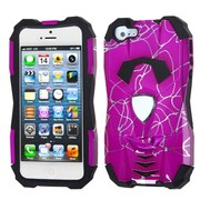 Insten® Car Pattern Hybrid Protector Cover F/iPhone 5/5S, d Lines Hot-Pink/Black