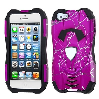 Insten® Car Pattern Hybrid Protector Cover F/iPhone 5/5S; d Lines Hot-Pink/Black