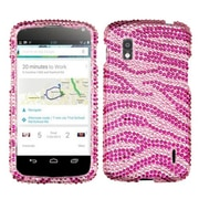 Insten® Diamante Protector Cover For LG E960 Nexus 4, Pink/Hot-Pink Zebra