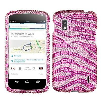 Insten® Diamante Protector Cover For LG E960 Nexus 4; Pink/Hot-Pink Zebra