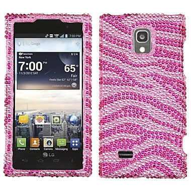 Insten® Diamante Protector Cover For LG VS930 Spectrum 2, Pink/Hot-Pink Zebra