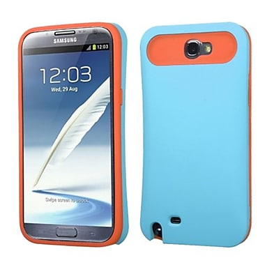 Insten® Rubberized Card Wallet Back Protector Cover For Samsung Galaxy Note II, Baby Blue/Orange