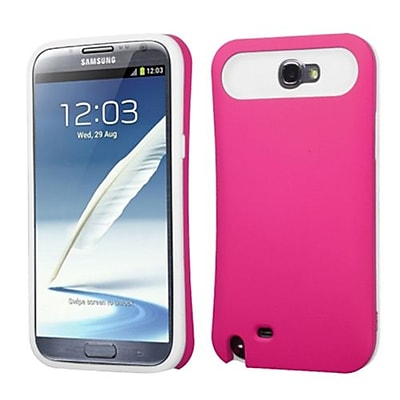 Insten® Rubberized Back Protector Cover With Card Wallet For Samsung Galaxy Note II; Hot-Pink/White
