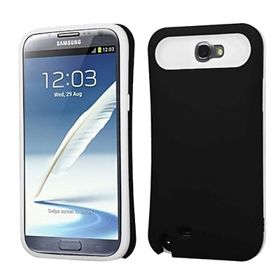 Insten® Rubberized Back Protector Cover With Card Wallet For Samsung Galaxy Note II, Black/White