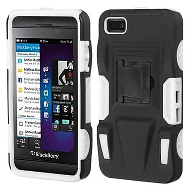 Insten® Rubberized Advanced Armor Stand Protector Cover For BlackBerry Z10, Black/White
