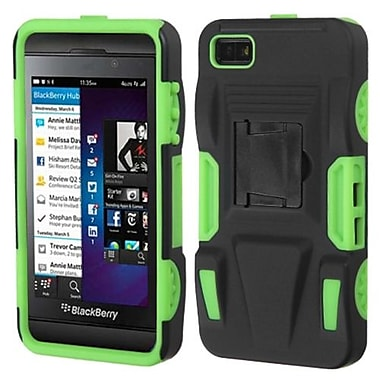 Insten® Rubberized Advanced Armor Stand Protector Cover For BlackBerry Z10, Black/Electric Green