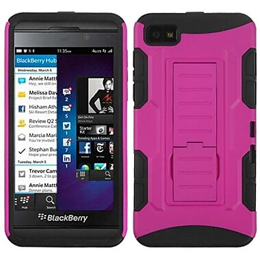 Insten® Rubberized Car Armor Stand Protector Case For BlackBerry Z10, Hot-Pink/Black