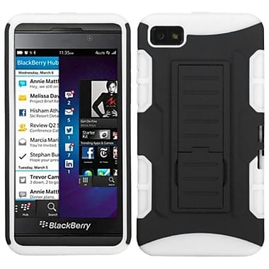 Insten® Rubberized Car Armor Stand Protector Case For BlackBerry Z10, Black/White