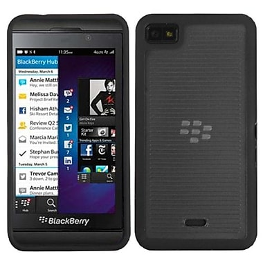 Insten® Gummy Cover For BlackBerry Z10, Transparent Smoke/Solid Black Horizontal Stripes