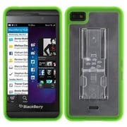 Insten® Gummy Cover With Stand For BlackBerry Z10, Transparent Clear/Solid Green