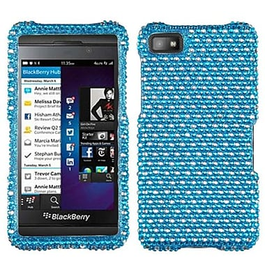 Insten® Diamante Protector Case For BlackBerry Z10, Blue/White Dots