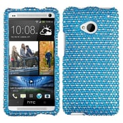 Insten® Diamante Protector Cover For HTC-One/M7; Blue/White Dots
