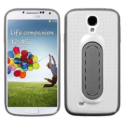 Insten® Stand Protector Cover For Samsung Galaxy S4; White Snap Tail