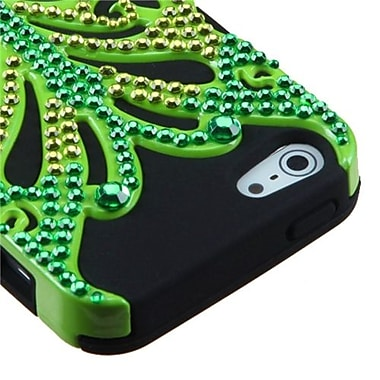 Insten® Butterflykiss Hybrid Phone Protector Cover W/Diamonds F/iPhone 5/5S, Solid Pearl Green/Black