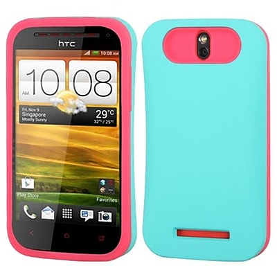 Insten® Back Protector Cover For HTC-One SV; Teal Green/Hot-Pink