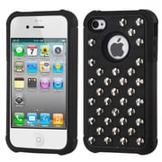 Insten® Lattice Dazzling TotalDefense Rubberized Protector Cover F/iPhone 4/4S, Black Silver Studs