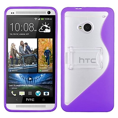 Insten® Gummy Cover For HTC-One/M7, Transparent Clear/Solid Purple