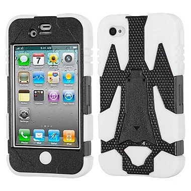 Insten® Cyborg Hybrid Phone Protector Cover F/iPhone 4/4S, Natural Black/Solid White