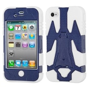Insten® Cyborg Hybrid Phone Protector Cover F/iPhone 4/4S, Natural Dark Blue/Solid White