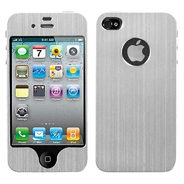 Insten Brushed Metal Decal Shield Phone Protector Cover For iPhone 4/4S, Silver (1183429)