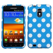 Insten® Phone Protector Cover For Samsung D710, R760, Galaxy S II 4G, White Polka Dots/Blue