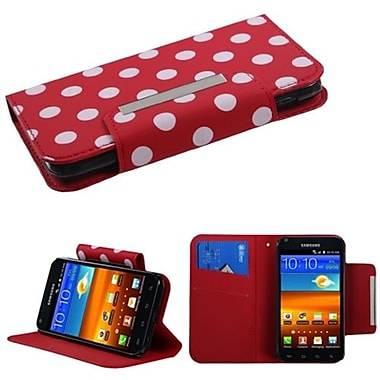 Insten® Book-Style MyJacket Wallet For Samsung D710, R760, Galaxy S II 4G, White Polka Dots/Red