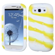 Insten® eNUFF Hybrid Protector Cover F/Samsung Galaxy SIII; Natural Ivory White/White/Yellow Camo