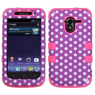 Insten® TUFF Hybrid Protector Cover For ZTE-N9120 Avid 4G, Purple/White/Electric Pink Dots