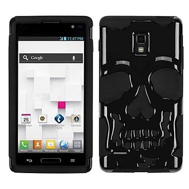 Insten® Hybrid Protector Cover For LG P769, Solid Black/Black Skullcap