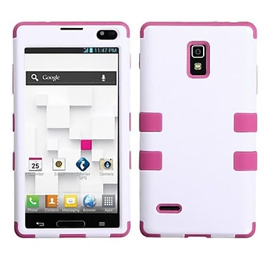 Insten® TUFF Hybrid Phone Protector Cover F/LG P769 Optimus L9, Ivory White/Hot-Pink