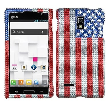 Insten® Diamante Protector Cover For LG P769, United States National Flag