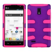 Insten® Protector Cover For LG P769; Grape/Electric Pink Fishbone