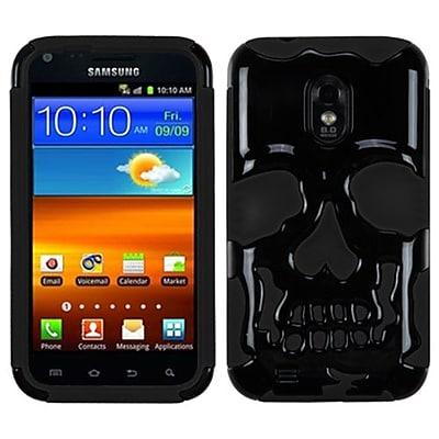 Insten® Protector Cover F/Samsung D710/R760/Galaxy S II 4G, Solid Black/Black Skullcap