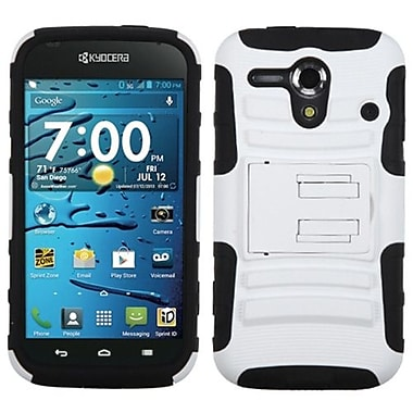 Insten® Advanced Armor Stand Protector Cover For Kyocera C5215 Hydro Edge, White/Black