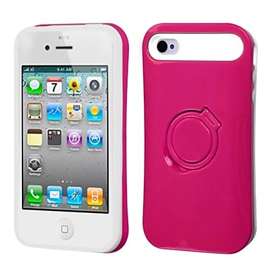 Insten Back Protector Cover With Ring Stand For iPhone 4/4S, Hot Pink/White (1337077)