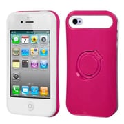Insten® Back Protector Cover W/Ring Stand F/iPhone 4/4S, Hot-Pink/White