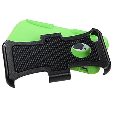 Insten Fusion Protector Cover For iPhone 4/4S, Natural Black/Electric Green Frosted (1337088)