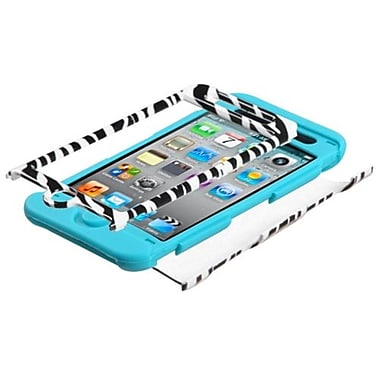 Insten® Zebra Skin TUFF Hybrid Protector Cover F/iPod Touch 4th Gen, Tropical Teal