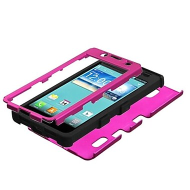 Insten® Hybrid Phone Protector Cover For LG US730 Splendor/730 Venice, Titanium Solid Hot-Pink/Black