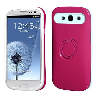 Insten Back Protector Cover With Ring Stand For Samsung Galaxy S III, Hot Pink/White (1337354)
