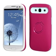 Insten® Back Protector Cover With Ring Stand For Samsung Galaxy SIII, Hot-Pink/White