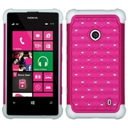 Insten® Luxurious Lattice Dazzling Protector Cover For Nokia Lumia 521, Hot-Pink/Solid White