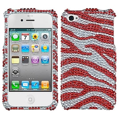 Insten® Diamante Protector Cover F/iPhone 4/4S, Silver/Red Zebra Skin