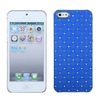 Insten® Luxurious Lattice Executive Dazzling Back Protector Cover W/Diamonds F/iPhone 5/5S; Blue