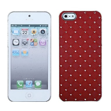 Insten Luxurious Lattice Executive Dazzling Back Protector Cover With Diamonds For iPhone 5/5S, Red (1397205)